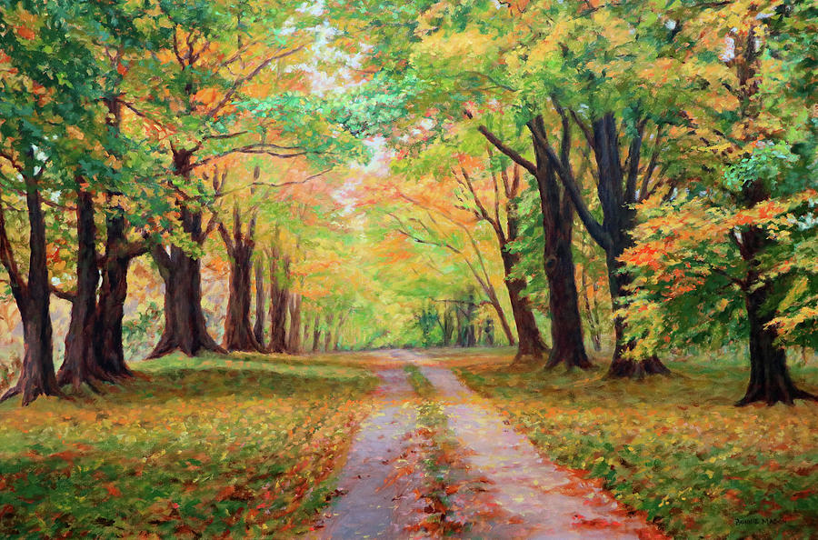 Country Lane Painting - Country Lane - A Walk In Autumn by Bonnie Mason
