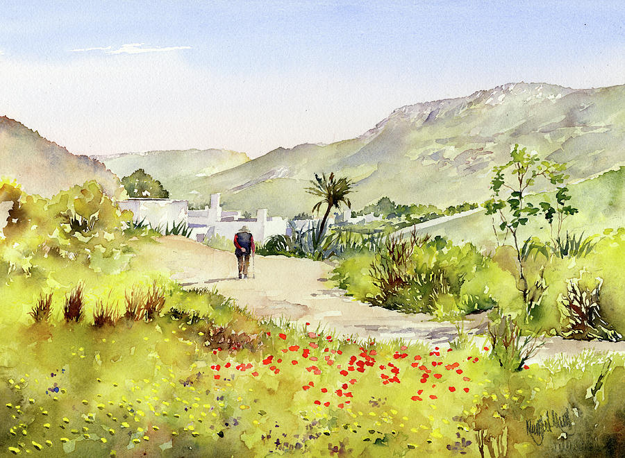 Cabo De Gata Painting - Country Lane In Spring by Margaret Merry