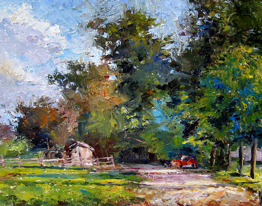 Oil Painting - Country Lane by Mark Hartung