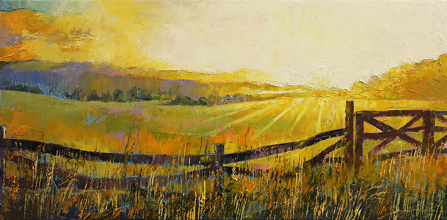 Gold Painting - Country Meadow by Michael Creese