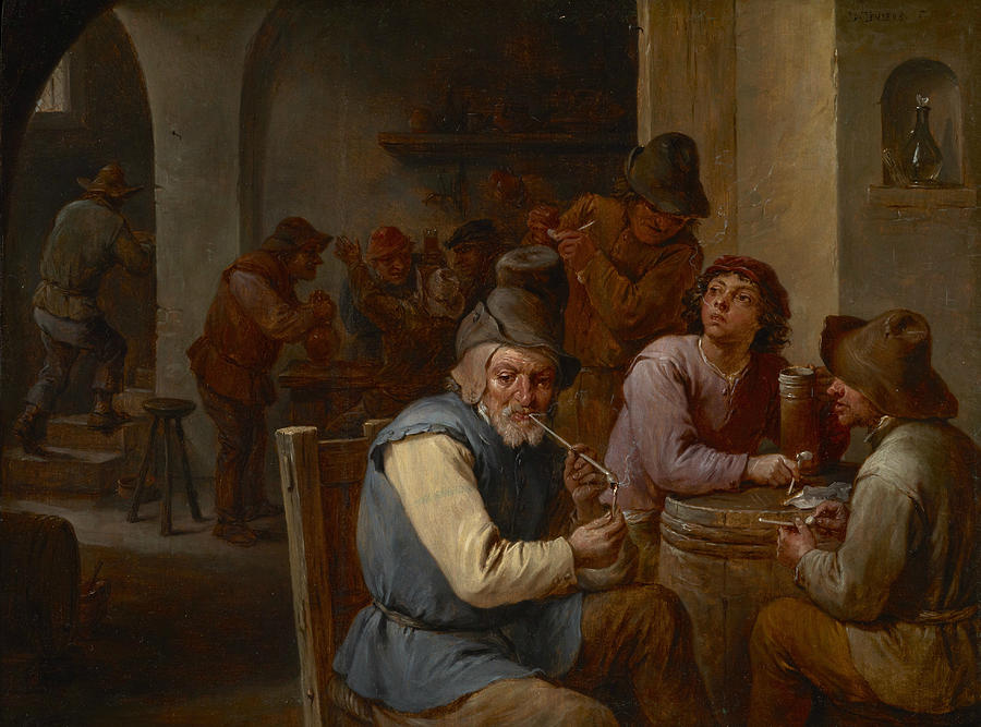 Flemish Painters Painting - Country Pub  by David Teniers the Younger