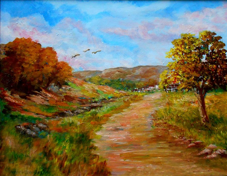 Nature Painting - Country Road 2 by Constantinos Charalampopoulos