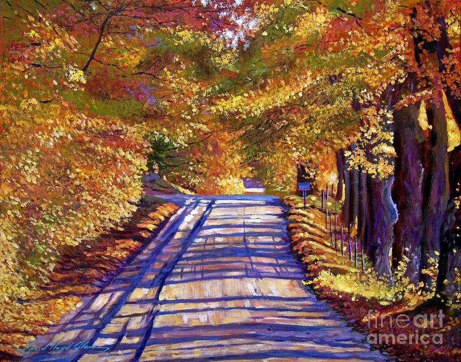 Autumn Painting - Country Road by David Lloyd Glover