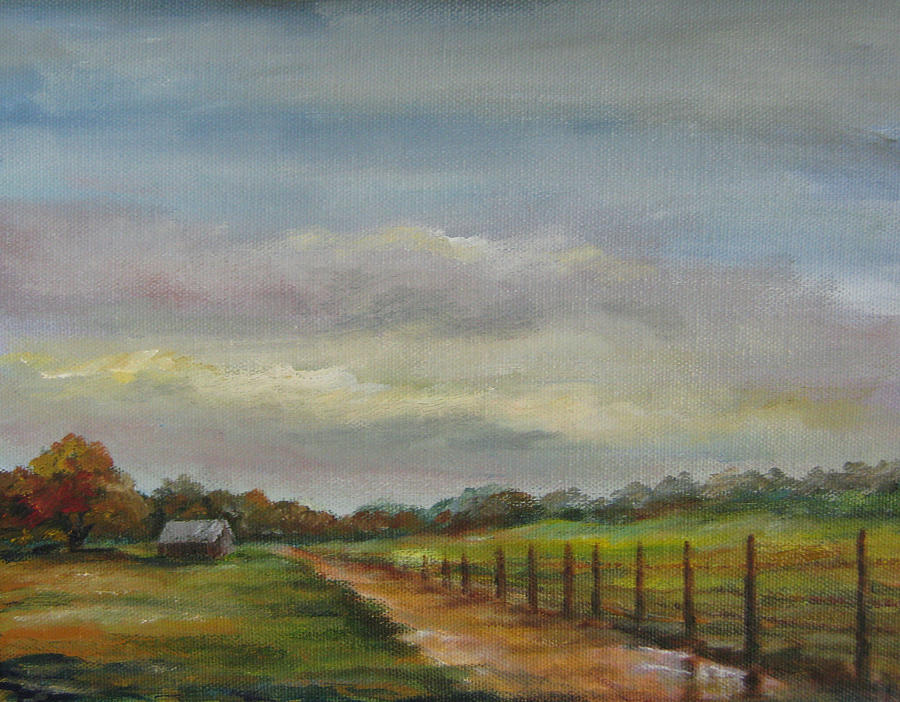 Landscapes Painting - Country Road Mud Puddle by Gloria Turner