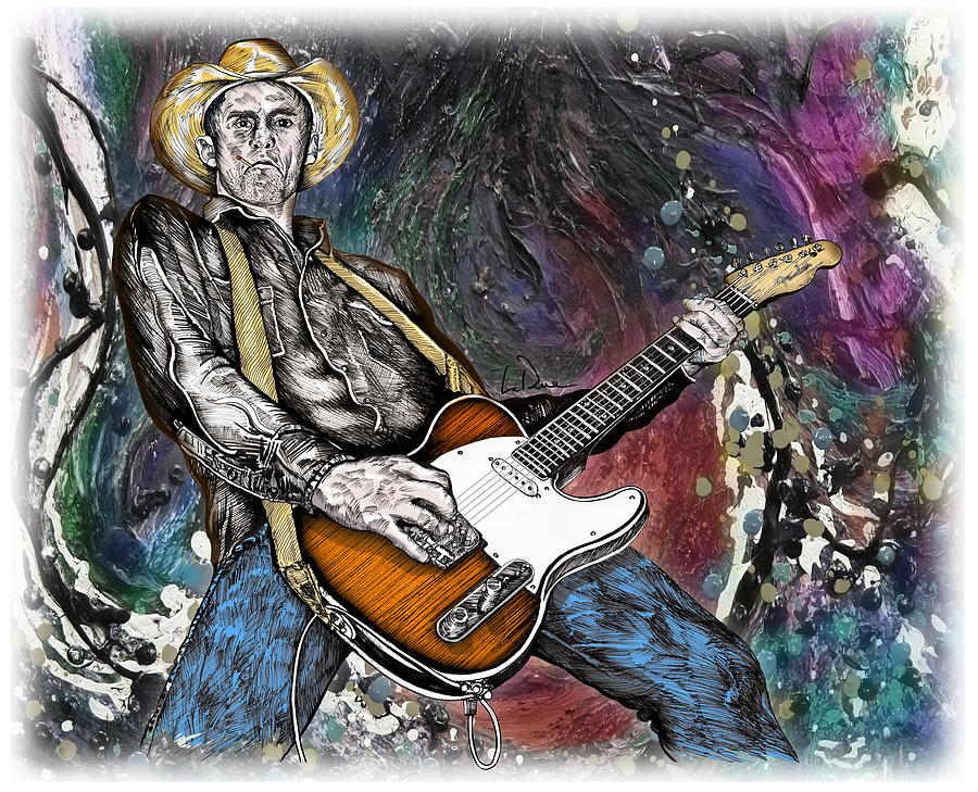Country Drawing - Country Rock Guitar by Doug LaRue