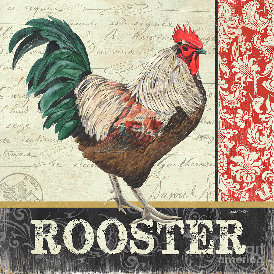 Chicken Painting - Country Rooster 1 by Debbie DeWitt