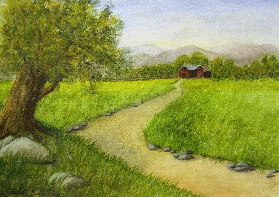 Country Scene - Barn In The Distance by Barbara J Blaisdell