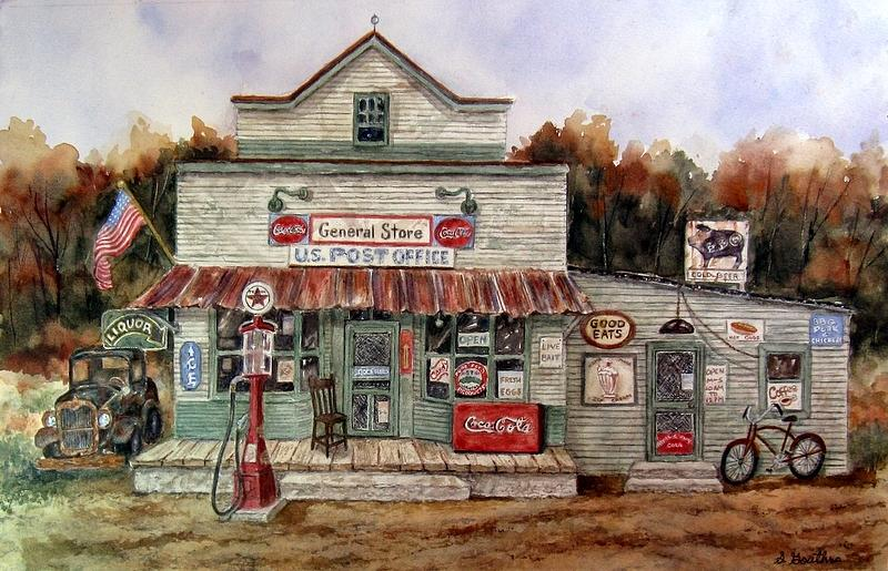 Store Painting - Country Store by Sharon Gouthro
