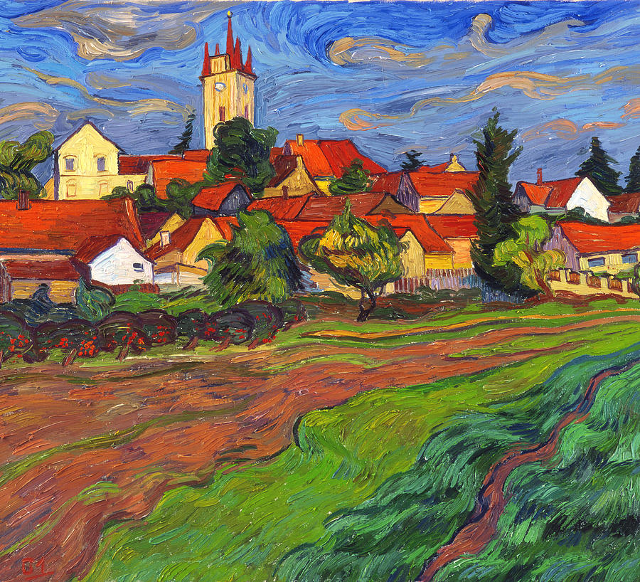 Landscape Painting - Country with the red roofs by Vitali Komarov