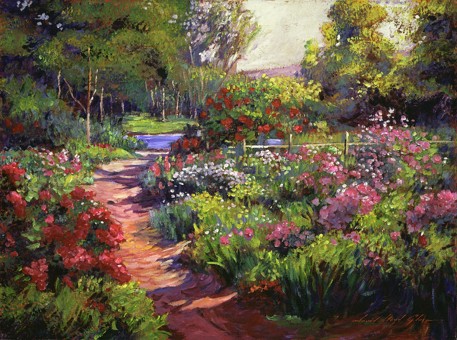 Countryside gardens painting by david lloyd glover for Garden painting images