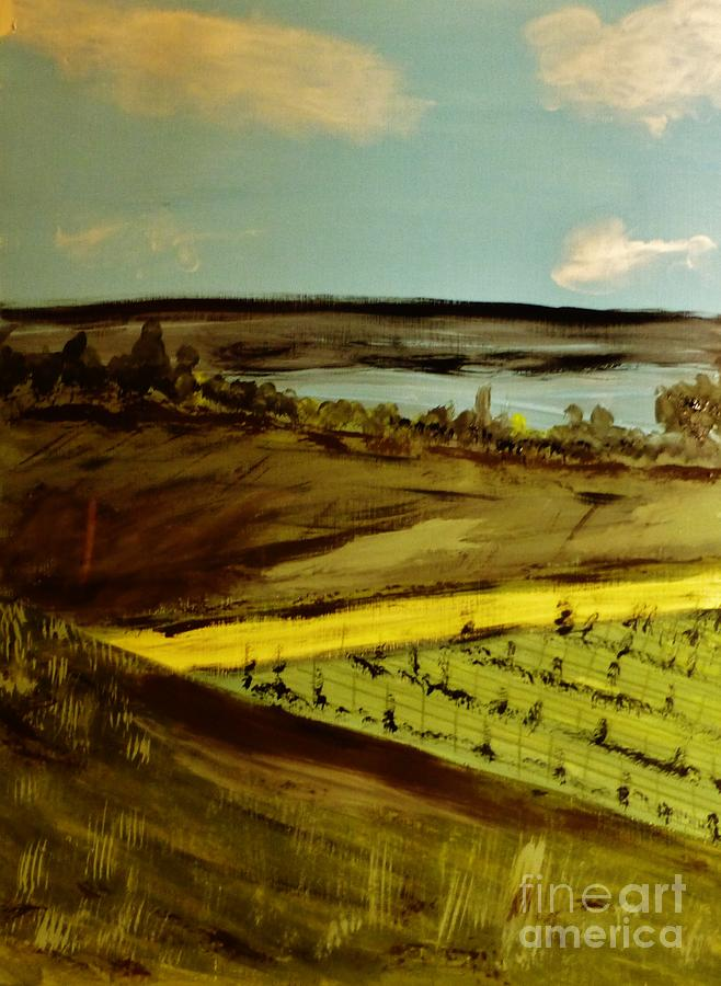 Rural Painting - countryside/VINEYARD by Marie Bulger