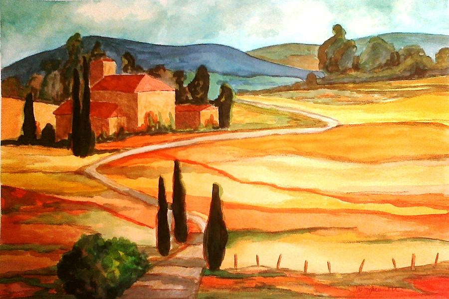 Landscape Painting - Countryside Of Tuscany by Julie Gelsinger