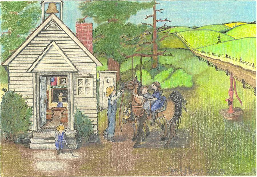 Pioneer Drawing - Countryside Schoolhouse by April Mains