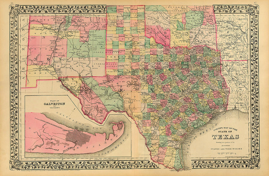 County Map of Texas by S. A. Mitchell 1881 by Texas Map Store