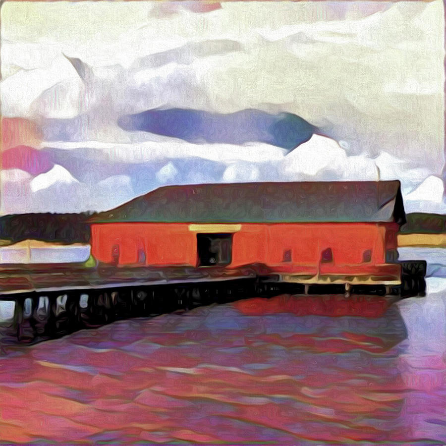 Whidbey Photograph - Coupeville Wharf Painterly Effect by Carol Leigh