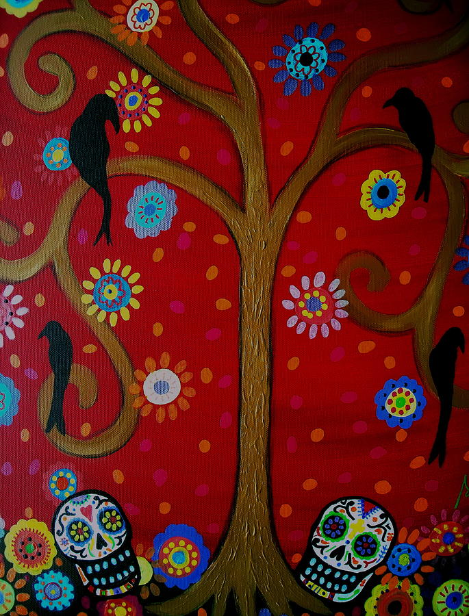 Tree Painting - Couple Day Of The Dead by Pristine Cartera Turkus