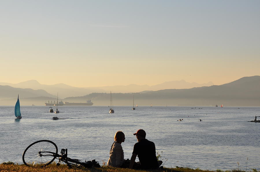 Couple Photograph - Couple in English Bay by Caroline Reyes-Loughrey