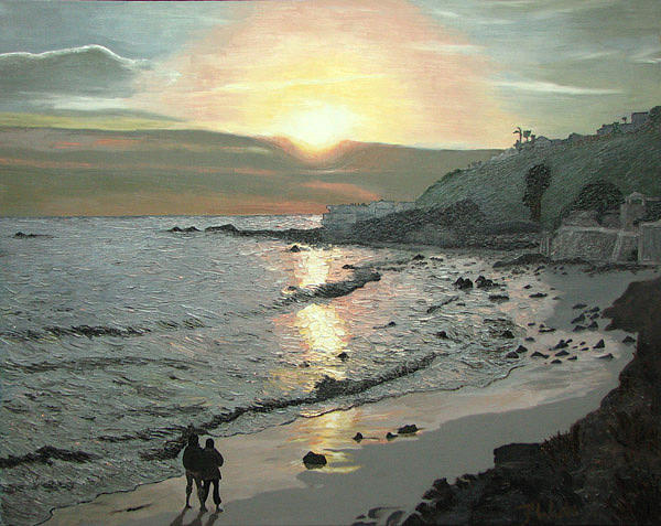 Seascape Painting - Couple in Malibu by Frank Wuts
