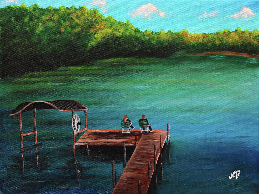 Lake Painting - Couple on the Dock by Nicole Paquette