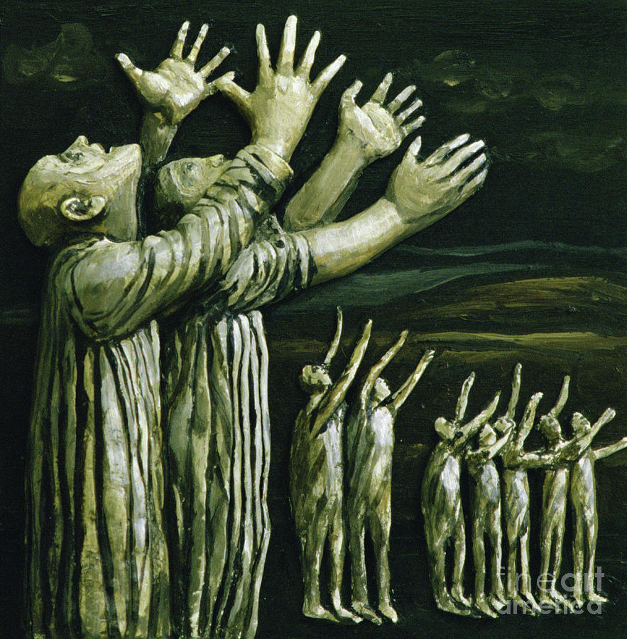 Stretching Painting - Couple Reaching Up by Evelyn Williams