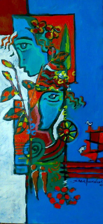 Couple Painting by Shan Naqvi