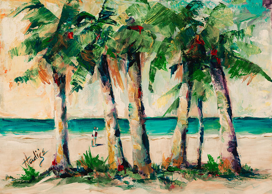 Palms Painting - Couple Under Palm Trees by Mary DuCharme