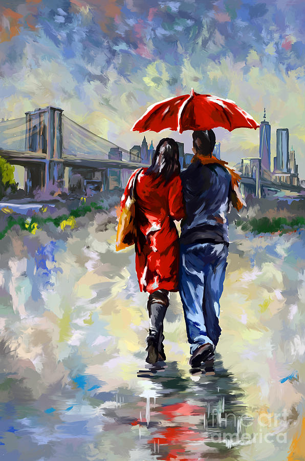 Couple walking in the rain new york brooklyn bridge for Activities for couples in nyc