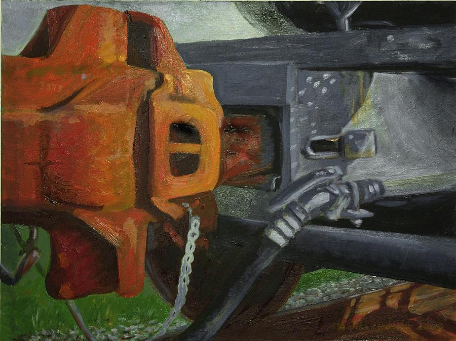 Train Painting - Coupler On Train by Martha Ressler