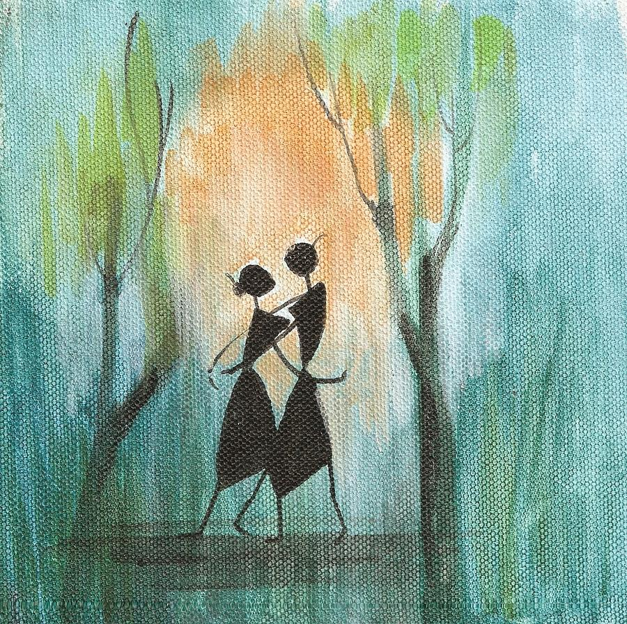 Romantic Painting - Couples Delight by Chintaman Rudra