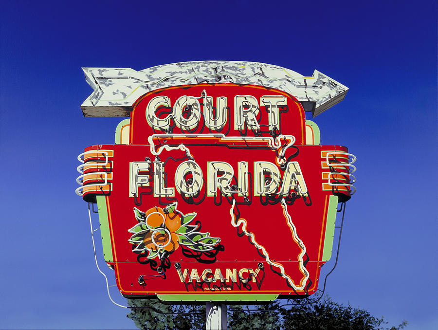Neon Painting - Court Florida by Randy Ford
