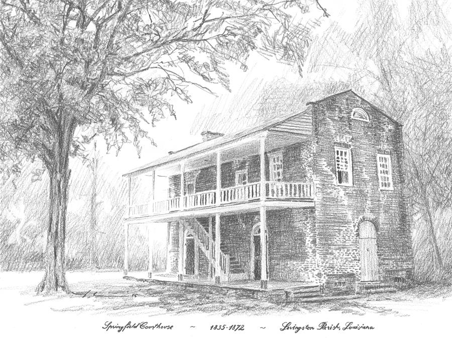 courthouse Livingston Parish LA Drawing by Mike Theuer