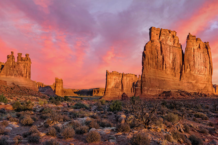 Utah Photograph - Courthouse Towers And Three Gossips by T-S Fine Art Landscape Photography