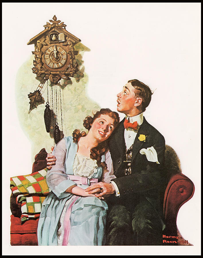 Norman Rockwell Painting - Courting Couple At Midnight Border by Norman Rockwell