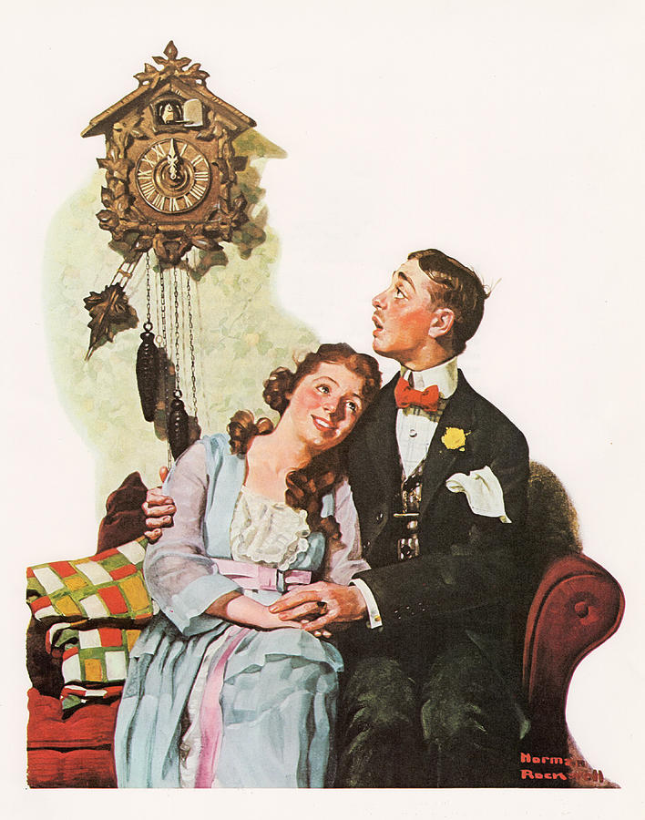 Norman Rockwell Painting - Courting Couple At Midnight by Norman Rockwell