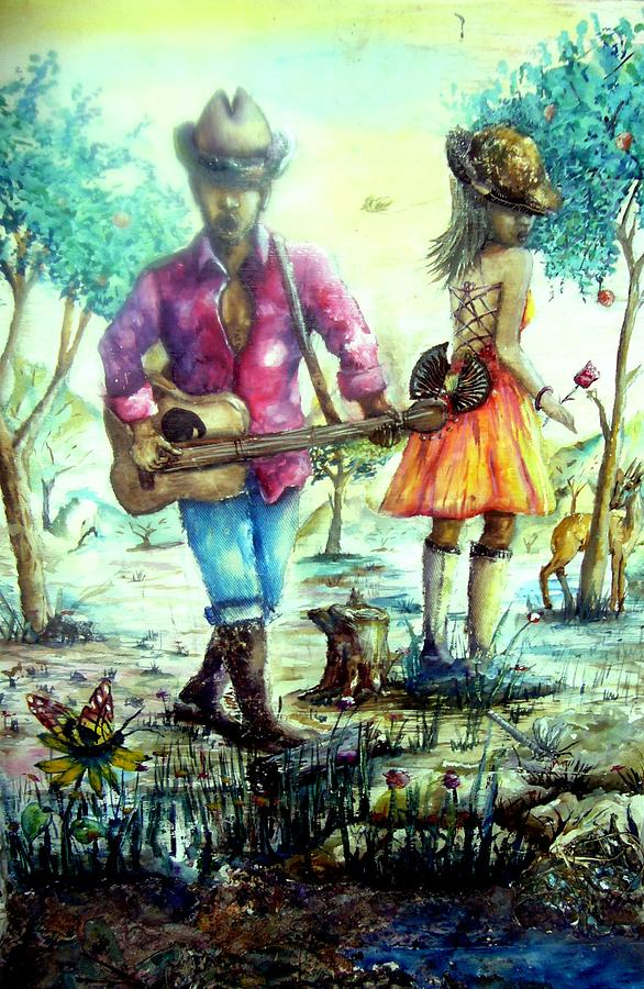 Cowboy Painting - Courtship by Florence  Ogola