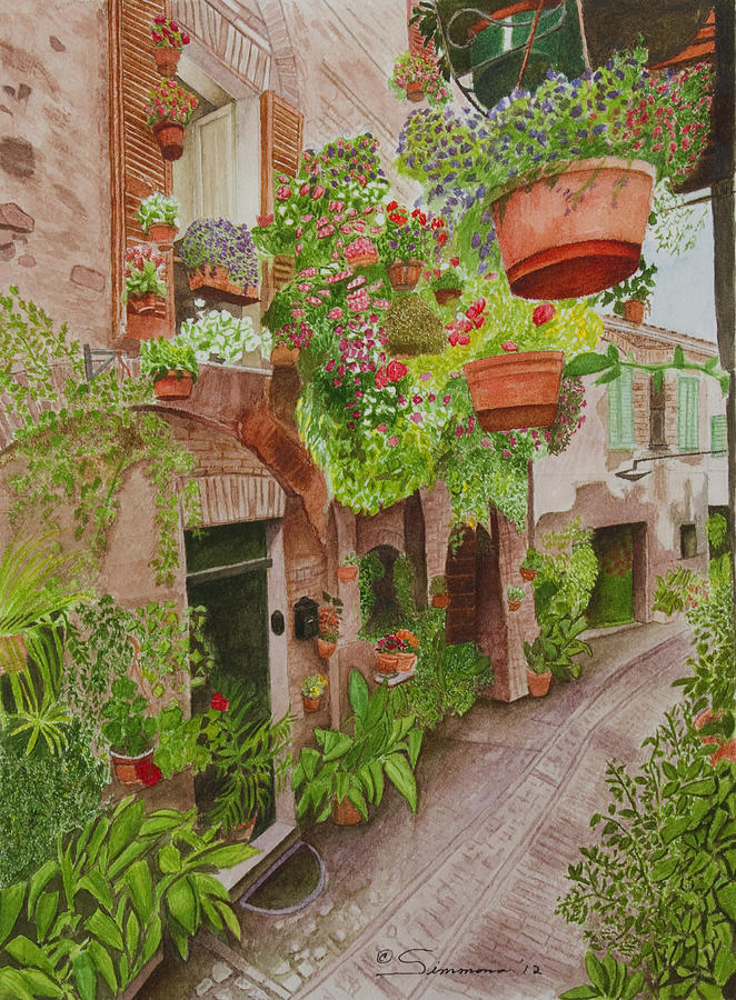 Courtyard Painting - Courtyard by C Wilton Simmons Jr
