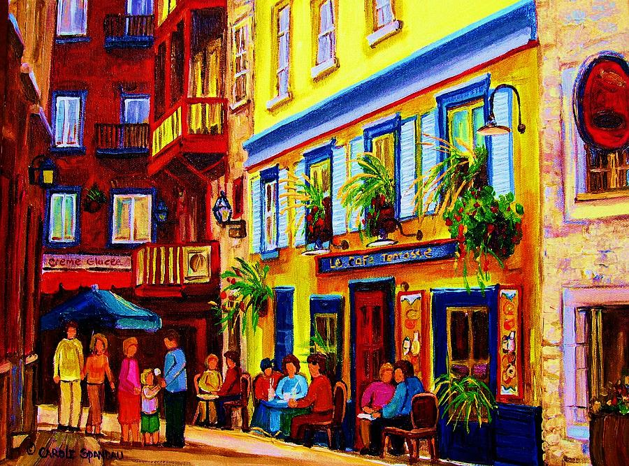 Cafe Scenes Painting - Courtyard Cafes by Carole Spandau