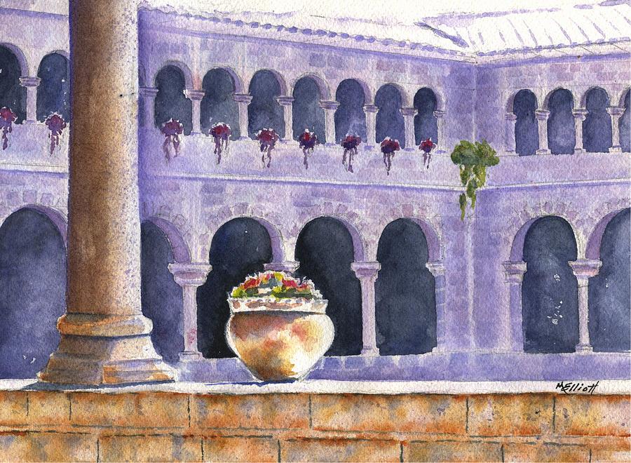 Courtyard Painting - Courtyard In Cuzco by Marsha Elliott