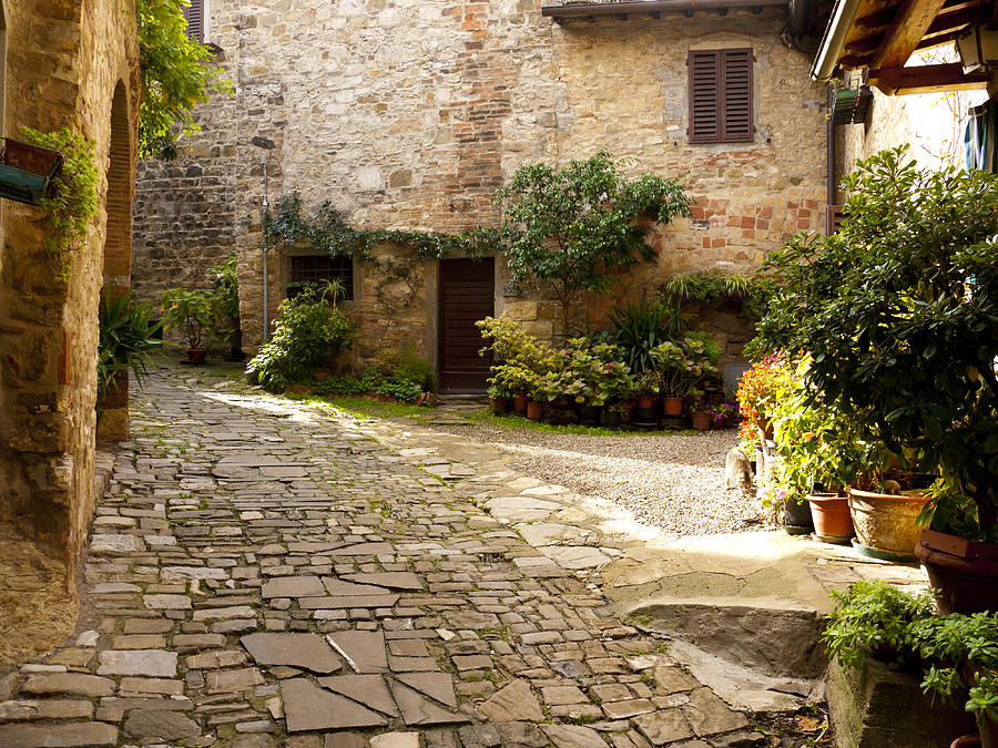 Montefioralle Photograph - Courtyard In Montefioralle by Rae Tucker
