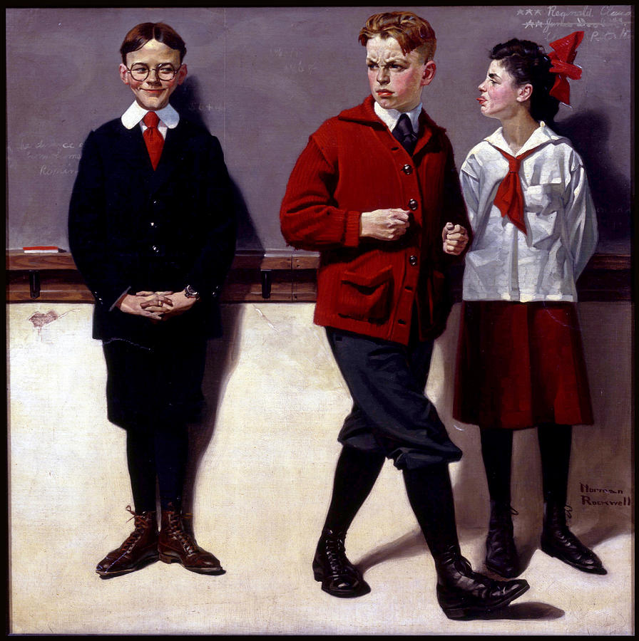 Three Kids Painting - Cousin Reginald Spells Peloponnesus by Norman Rockwell