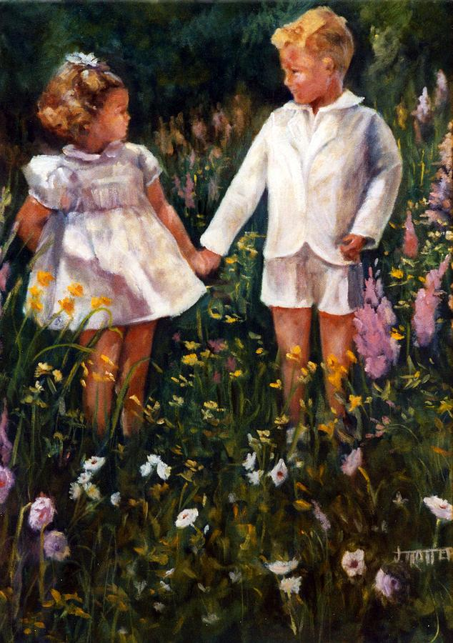 Figures Painting - Cousins by Jimmie Trotter