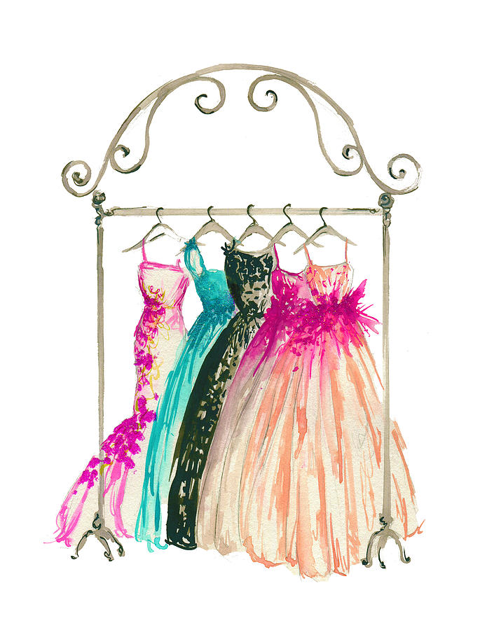 Couture In Her Closet, Watercolor Fashion Illustration ...