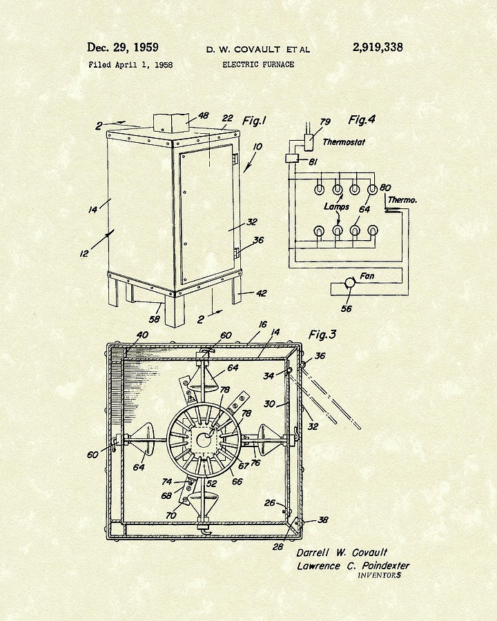 Covault Electric Furnace 1959 Patent Art by Prior Art Design