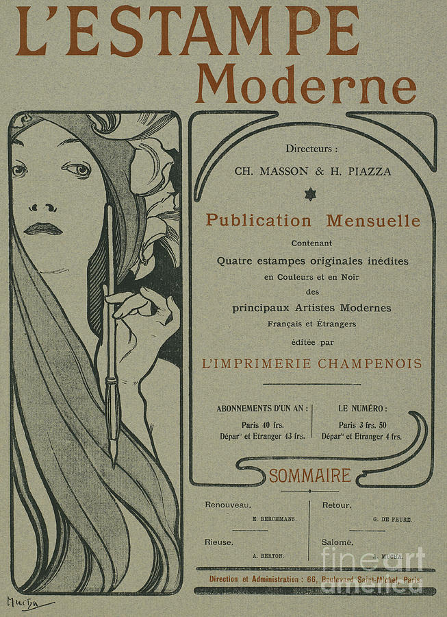 Art Nouveau Drawing - Cover Page From Lestampe Moderne by Alphonse Marie Mucha