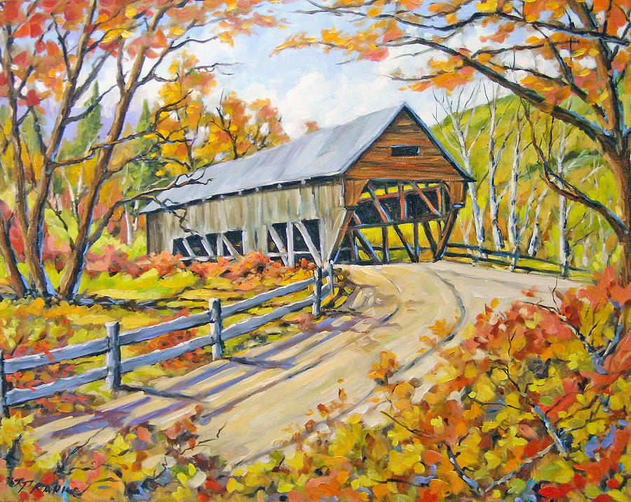 Water Painting - Covered  Bridge 2 by Richard T Pranke