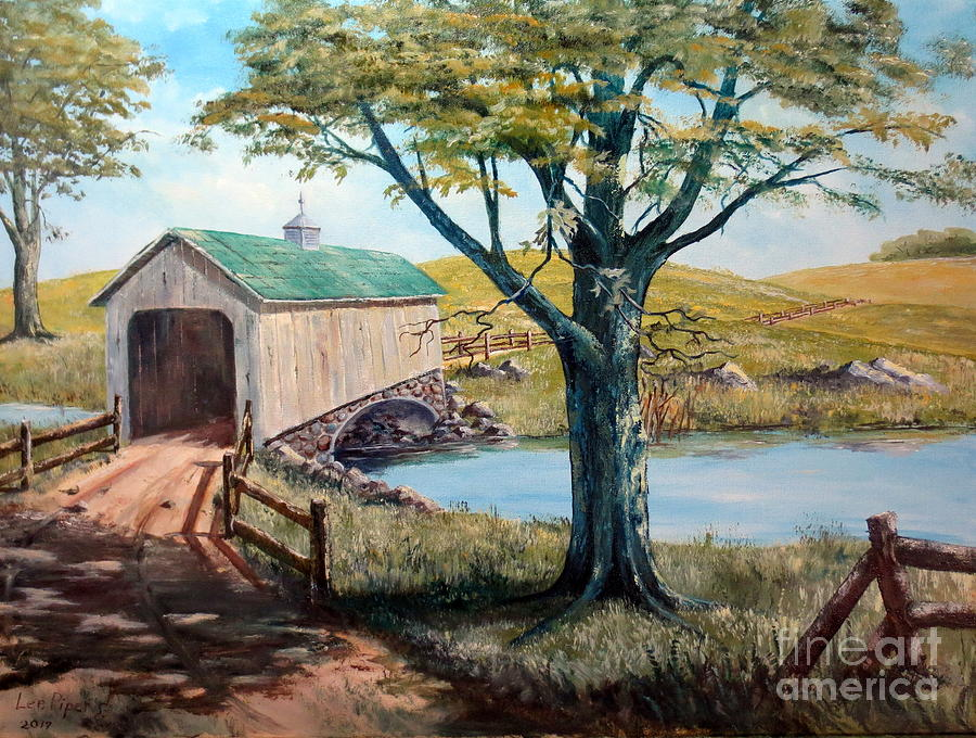 covered-bridge-americana-folk-art-lee-piper Painting Metal An Old Mobile Home on an old cabin, an old barn, an old hotel room,