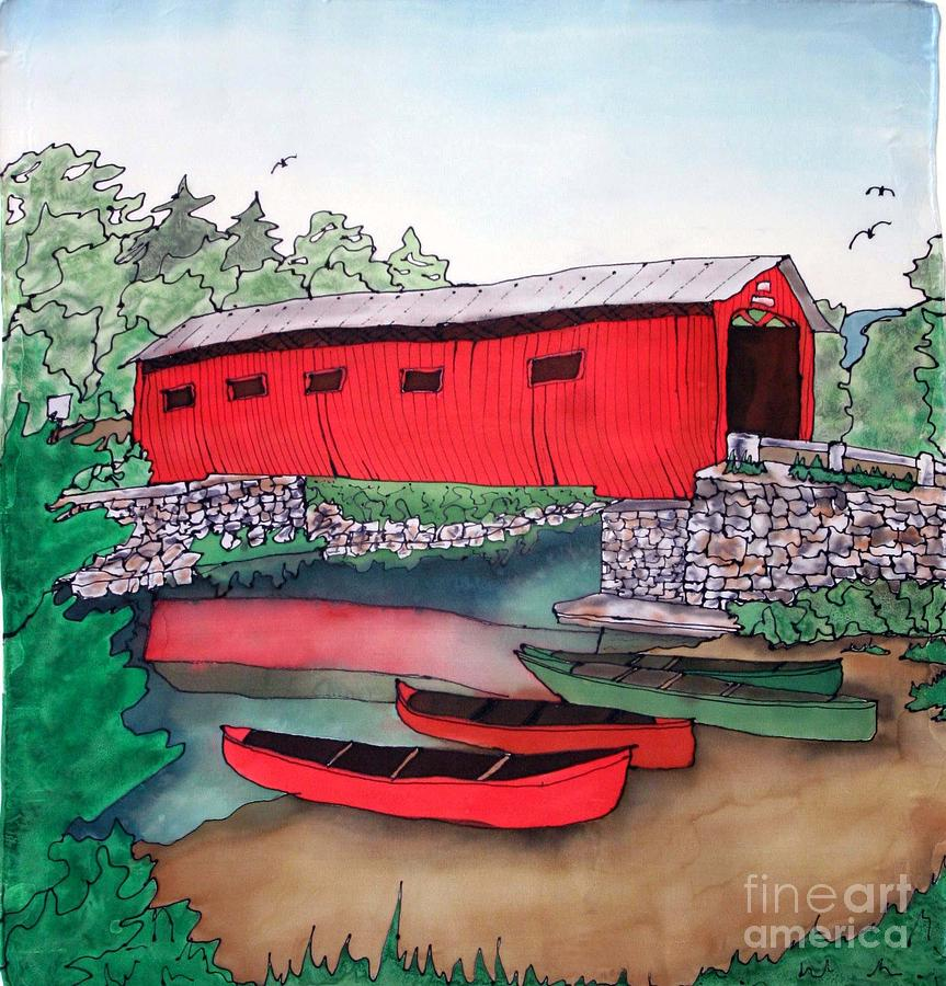 Covered Bridge Painting - Covered Bridge And Canoes by Linda Marcille
