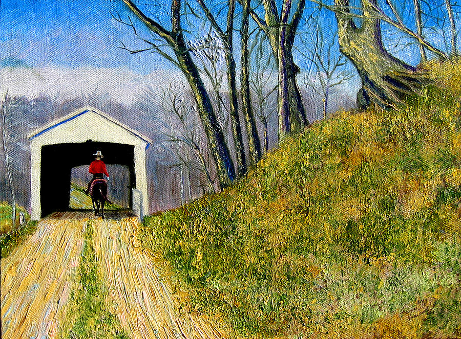 Cowboy Painting - Covered Bridge And Cowboy by Stan Hamilton