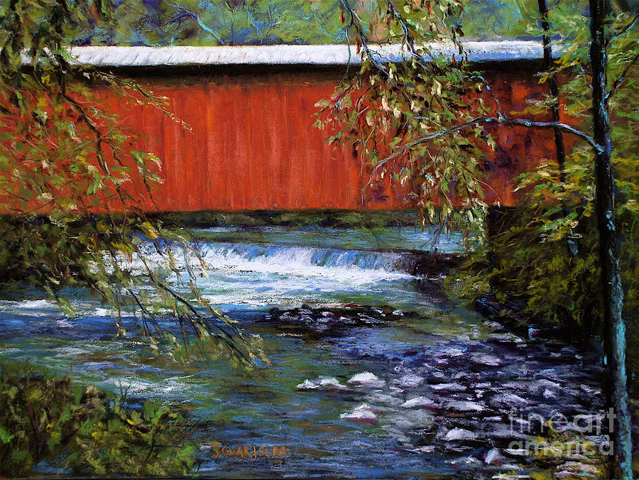 Landscape Pastel - Covered Bridge And  Wissahickon Creek by Joyce A Guariglia