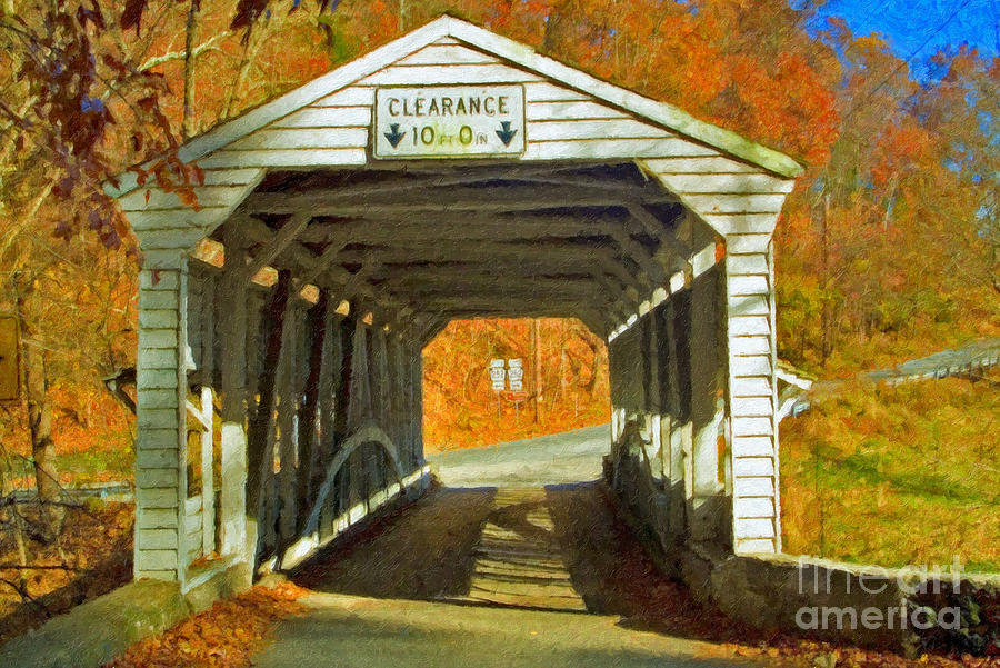 Covered Bridge Impasto Oil Photograph by David Zanzinger